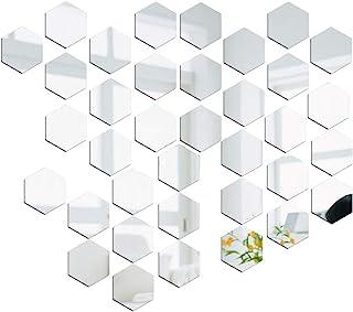36pcs Pegatinas Pared Espejo Vinilos Adhesivos de Acrílico Hexagonales Decorativas DIY Decorar Hogar Habitación Dormitorio Baño