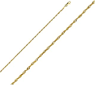 14k Yellow Gold Polished Solid 2mm Diamond Cut Solid Rope Chain with Lobster Claw Clasp