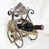 Zpong Iron Craft Rattan Modell Metall Weinflaschenregal 27 * 21 * 33 cm, Europäische Kreative Retro Weinregal Ornamente