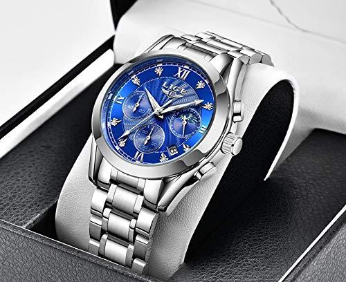 BDYALINGVN Reloj de Oro Mira señoras Damas de Acero Creativo Señoras Pulsera Reloj Femenino Reloj Impermeable (Color : Rosegoldblue)