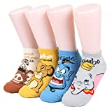 Worldlook Women's Disney Animation Ankle Socks 4 Pairs - Timon & Pumbaa,Simba,Genie,Dumbo