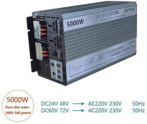 Potencia del inversor de onda sinusoidal pura 5000W de onda sinusoidal pura 24V / 48V / 60V / 72V Industrial Calidad del convertidor de energía (Pico 10000W) Con la toma de CA 2 y USB de carga de ener