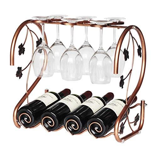 LKAIBIN Estante para botellas de vino, metal cromado, para vidrio, montaje invertido, 42 x 25,5 x 39 cm