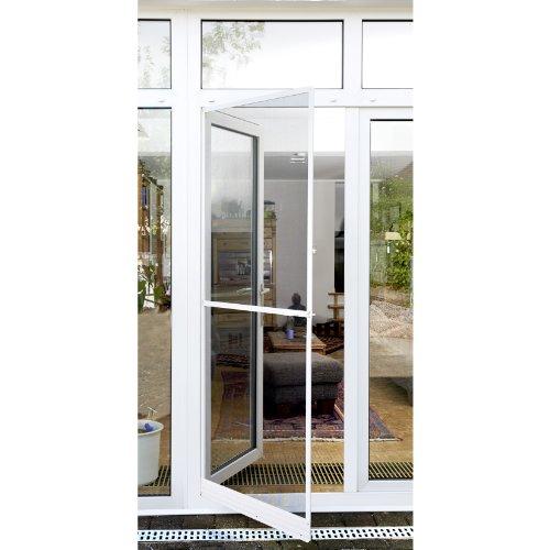 Xclou Fliegengitter für Türen - Fliegengittertür mit Rahmen in Weiß - Insektenschutz für Balkon- und Terrassentür - Moskitonetz mit Spannrahmen aus Aluminium - Gitter gegen Insekten und Kleintiere