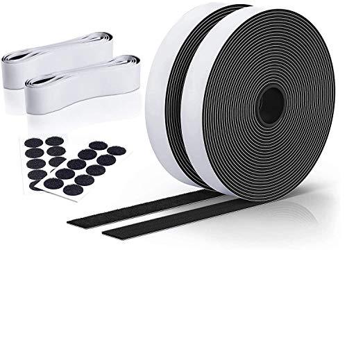 Daover Klettband Selbstklebend [3er Set] Extra Starkes und Breites Klettband 10M mit der Bewährten Haftkraft Doppelseitiges Klettverschluss, 20mm Breit, Schwarz
