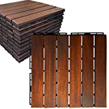 Mammoth Sustainably Sourced Solid Acacia Wood Oiled Finish Secure Interlocking Deck Tiles, Water Resistant Outdoor Patio Pavers or Composite Deck Flooring, Pack of 11 (11 SQFT) (Stripe)