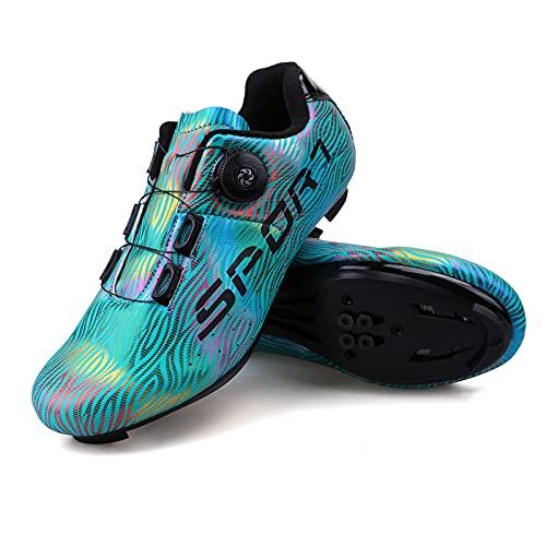 Zapatillas Ciclismo Carretera Hombre Mujere Zapatillas MTB Adulto Cycling Shoes Talla 44 Color Azul Hebilla De Zapato Giratoria Respirable Calzado Ciclismo con Caja De Zapatos