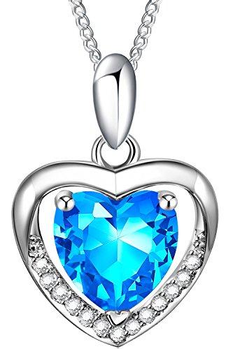 Ostan Donna Gioielli Amore in Cuore Cristalli Blu Argento Sterling Collana Ciondolo a Cuore