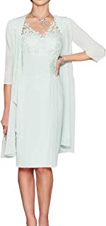 4876ea032f1b82 ShineGown Mutter der Braut Kleider Zwei Stück knielangen Sweetheart Plissee Applique  Chiffon Spitze Lange Jacke