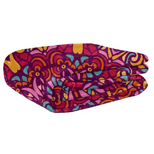 AIBILI Manta de tamaño – para todas las estaciones, ligera y afelpada hipoalergénica – mantas de microfibra para cama, sofá o viaje (60 x 80 pulgadas), mandala roja floral