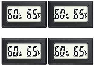 AikTryee 4-Pack Mini Digital Humidity Temperature Meters Gauge Indoor Hygrometer Thermometer Hygrometer wiht LCD Display Fahrenheit (℉) for Humidors Greenhouse Garden Cellar Closet Guitar Case