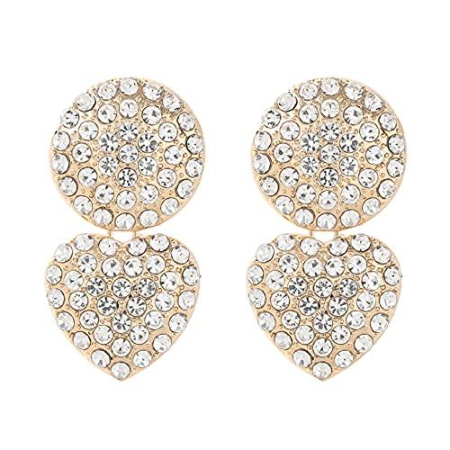 Pendientes geométricos redondos en forma de corazón de diamantes de imitación de Metal a la moda pendientes colgantes populares creativos para mujer accesorios de fiesta