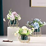 lavenor fake flowers bonsai for decoration artificial hydrangea with gold metal iron stand silk flower arrangements for wedding home office table centerpieces windowsill restaurant decor, blue