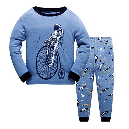 JinBei Pijamas para Bebé Niño Conjunto de Pijama Algodon Invierno Infantil Manga Larga Camiseta2 Piezas Pantalones Pajamas Ropa de Dibujos Azul Astronauta Planeta Primavera Otoño Edad 2-3 Anos