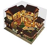 FBGood Maison de Poupées en Bois DIY 3D Dollhouse Miniature Meubles Kit, Cadeau Créatif Art Bricolage Chalet en Bois Artisanat Jouet Modèle Architectural Cadeau Anniversaire Amoureux