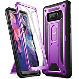 YOUMAKER Kickstand Case for Galaxy Note 8, Full Body with Built-in Screen Protector Heavy Duty Protection Shockproof Rugged Cover for Samsung Galaxy Note 8 6.3 Inch - Purple/Black