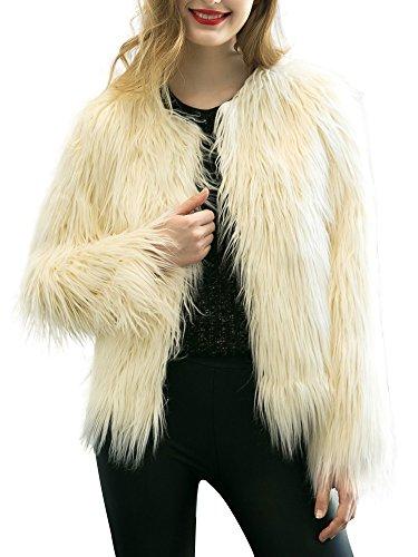 Simplee Apparel Women's Vintage Winter Warm Fluffy Faux Fur Coat Jacket Outwear, Black, 4/6, Large