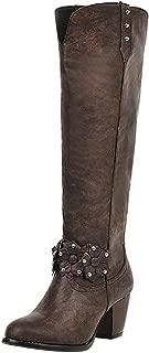 Melady Women Elegant Knee High Boot Wide Calf Block Mid Heels