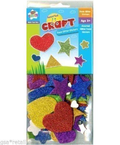 Enfants Mousse Coeur Scintillant Étoile Formes Autocollants Art Artisanat Adhésif