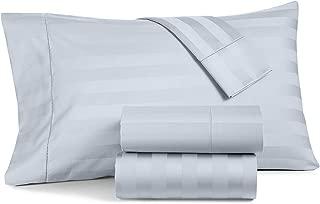 Charter Club Damask Stripe Queen 4 Pieces Sheet Set, 550 Thread Count 100% Supima Cotton Vapor (Light Blue)