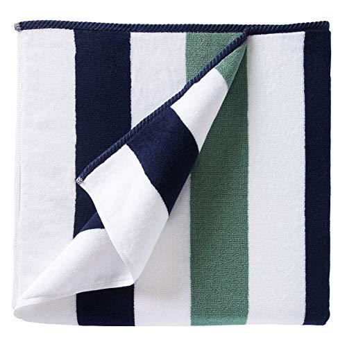 Oversize Plush Cabana Towel by Laguna Beach Textile Co | Navy and Seafoam Green| 1 Classic, Beach and Pool House Towel