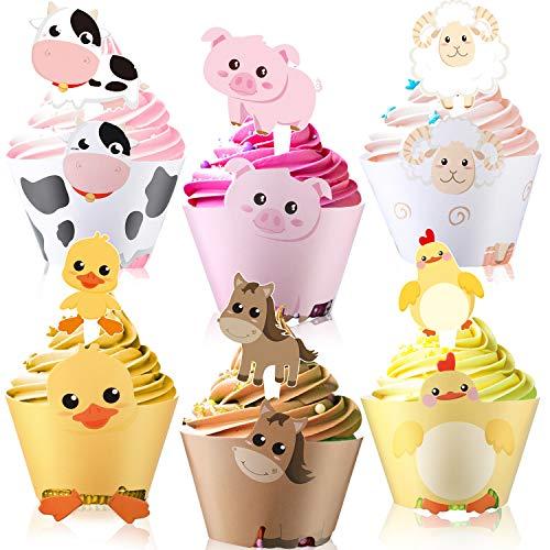 60 Stücke Farm Tier Cupcake Verpackung und Topper für Bauernhof Thema Party - Cupcake Verpackung Topper Farm Tier Geburtstag Party Dekoration Baby Dusche Lieferung