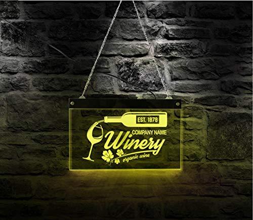 Wangzhuoyue Vino Led Verlichting Neon Sign Drinken Decor Thuis Bar Pub Biologische Wijn Acryl Board Met Wijnmakerij Bedrijfsnaam Led Neon-30X20Cm
