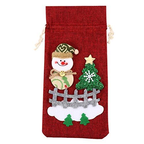 Tomaibaby Sac de Bouteille de Vin de Noël Tissu Lin Père Noël Bonhomme de Neige Couverture de Bouteille de Vin Pochette de Vaisselle de Dessin Animé pour La Décoration de Fête du Nouvel an