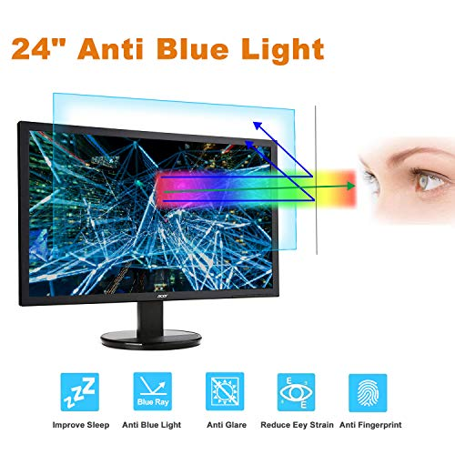 24 Monitor Screen Protector -Blue Light Filter, Eye Protection Blue Light Blocking Anti Glare Screen Protector for Diagonal 24' with 16:9 Widescreen Desktop Monitor (Size: 20.9' Width x 11.8' Height)