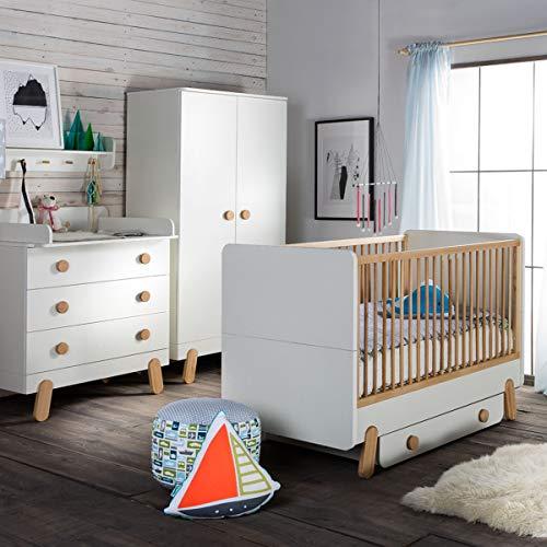 Chambre complète lit bébé 60x120 - commode à langer - armoire 2 portes Iga - Blanc et bois