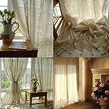 GJXY Cortinas de Lino Grandes, diseño Floral, algodón Crochet, Paneles opacos para Ventana de recámara de 1pcs,Beige,W150*L180cm
