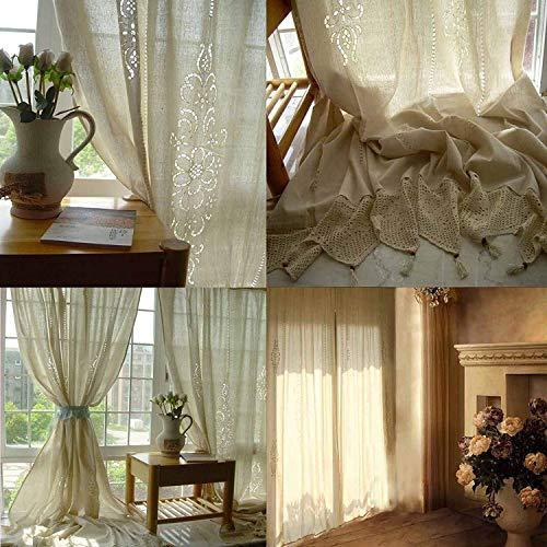 GJXY Cortinas de Lino Grandes, diseño Floral, algodón Crochet, Paneles opacos...