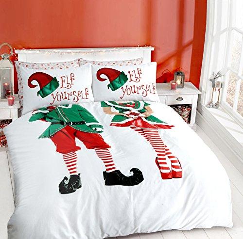 Sleepdown Elf Yourself Selfie Couple Christmas Xmas Duvet Quilt Cover & Pillowcase Elf Duvet set (Elf - Double)