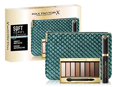 Max Factor, Confezione Regalo Donna Soft Glam Collection, Pochette con Mascara Masterpiece Max e Nude Palette Ombretti
