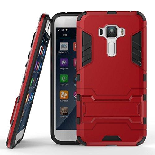 Hülle für Asus ZenFone 3 ZE552KL (5,5 Zoll) 2 in 1 Hybrid Dual Layer Shell Armor Schutzhülle mit Standfunktion Case (Rot)