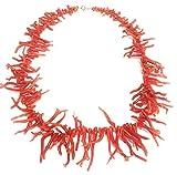 Collar con flecos en coral rojo mediterráneo natural, pescado y procesado de forma sostenible - cierre en plata 925