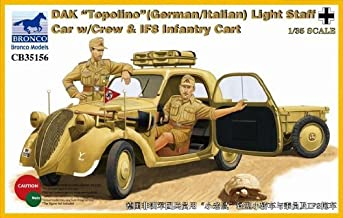 Bronco BNC35156 1:35 DAK Topolino (German/Italian) Light Staff Car w/Crew & IF8 Infantry Cart MODEL KIT