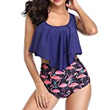 Sexy Bademode Damen Flamingo High Waist Bikinis Strandbikini Schlankheits Rüschen Zweiteilige Bademode Retro Lila Florale Badeanzug Hoher Taille Bikini L