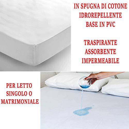 Marannashop Coprimaterasso Impermeabile Igienico Sanitario 100% PVC Igiene USA E Getta Anti Allergico Acari Batteri Singolo O Matrimoniale con Elastico Copri Materasso 3133 (Matrimoniale)