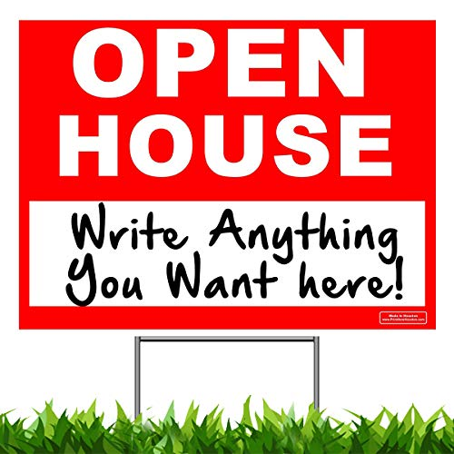 24 x 18 - UV Ink Yard Sign - Corrugated Plastic - Printed Front & Back - with Metal Ground Stake Included - Open House Sign