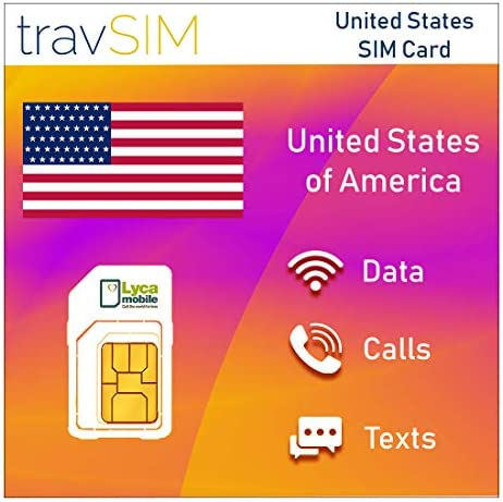 travSIM Prepaid Lycamobile USA SIM Card with 5 GB Data Valid for 30 Days Works in Puerto Rico product image