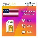 travSIM - Tarjeta SIM USA (Tarjeta SIM Lycamobile) por 60 Días Válidos - Datos Móviles 3G 4G LTE de 5GB - Estados Unidos Tarjeta SIM Lycamobile EE. UU. (Incluye Llamadas Locales e internacionales)