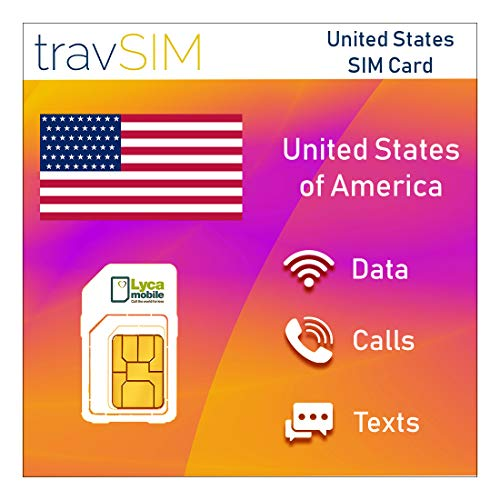 travSIM Lycamobile USA SIM-Karte für 30 Tage - 15GB 3G 4G LTE Mobile Data - United States Lycamobile US SIM-Karte (Unbegrenzte lokale Anrufe & Texte, unbegrenzte Internationale Anrufe in 75+ Länder)