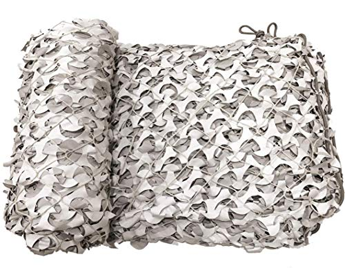 CamoSystems Premium Series Camouflage Military Net with Mesh Netting Attached, Snow - White/Light Gray, Large, 9'10' x 19'8'