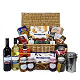 Indulgent Gourmet Food and Wine Gift Hamper in Traditional Wicker Basket Includes 2 x