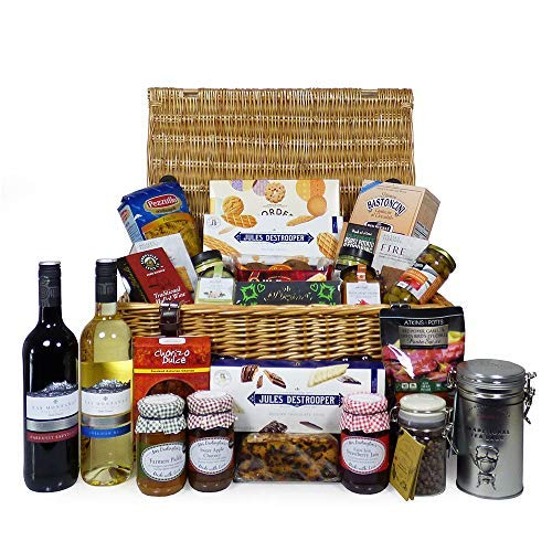 Indulgent Gourmet Food and Wine Gift Hamper in Traditional Wicker Basket Includes 2 x 75cl Las Montanas Wines - Ideas for Birthday, Christmas, Anniversary, Thank You, Business and Corporate Gifts