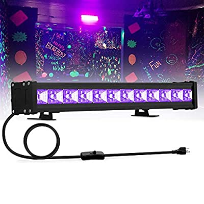 24W 12LED Black Light, UV Blacklights Bar Glow in The Dark Party Supplies for Blacklight Party Birthday Wedding Stage Lighting