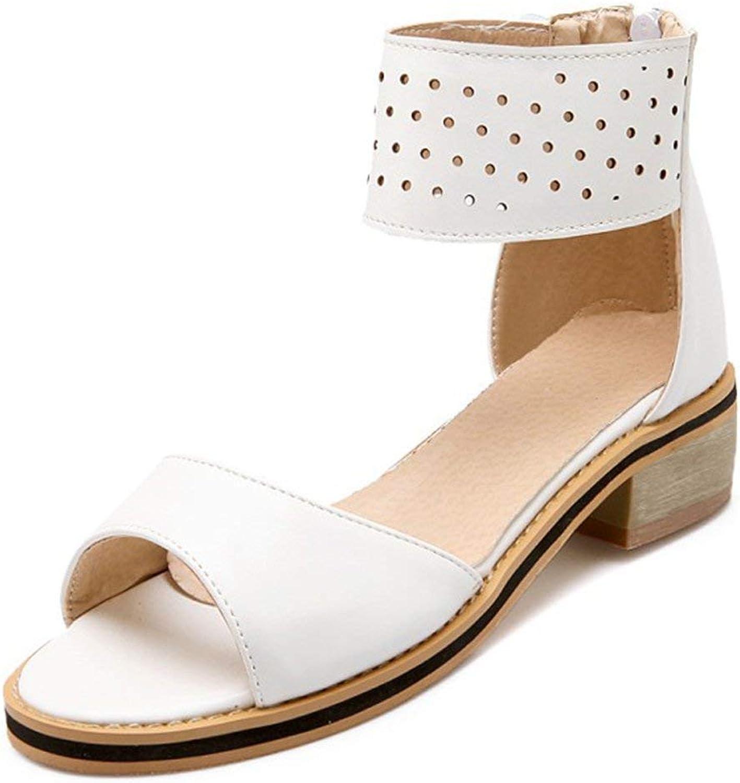 Lelehwhge Women's Trendy Open Toe Ankle Cuff Hollow Out Gladiators Back Zipper Low Heel Sandals White 8 M US