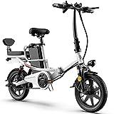 DREAMyun Bicicleta Eléctrica Plegables, 350W Motor Bicicleta Plegable 25 km/h, 14' Bici Electricas Adulto, Batería 48V/20Ah, Asiento Ajustable, con Pedales, con sedile posteriore,Blanco