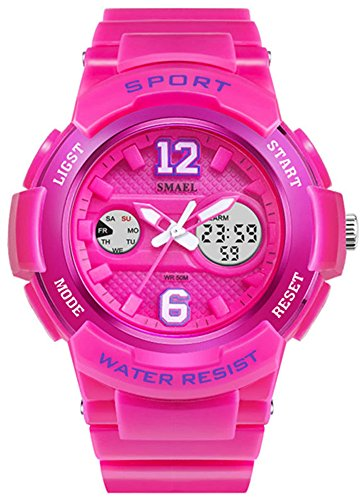Fanmis Sports Watches Analog Digital Waterproof Dual Time Alarm Stopwatch Led Girl's Women's watch Pink